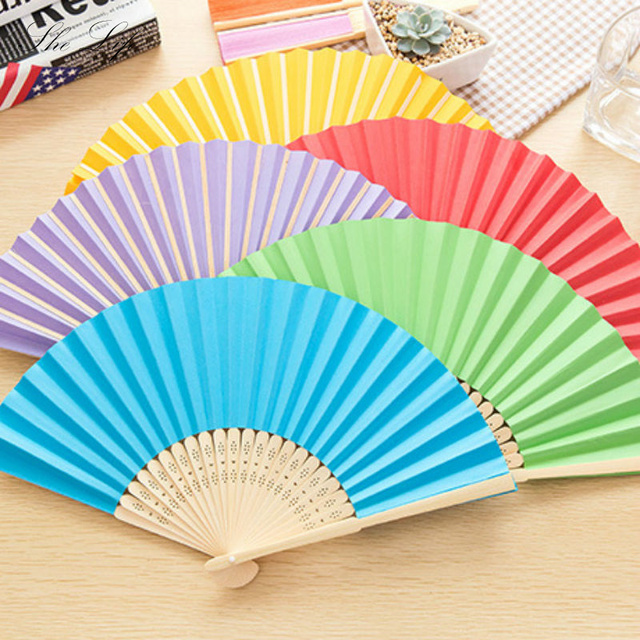 blank rainbow paper fan bamboo children student diy painting small
