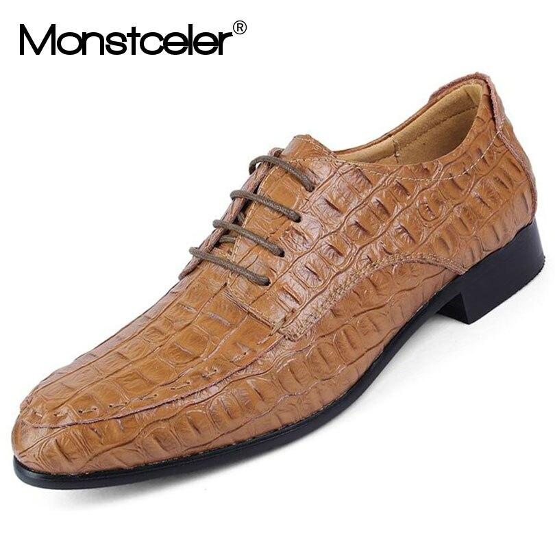 Sapatos Confortável Sapato Estilo Homens Dos Grande Laranja Masculinos Macio Crocodilo Formais Calçado 50 Vestido Novo Genuíno 45 E De Tamanho Couro ~ 2017 8FOxOa