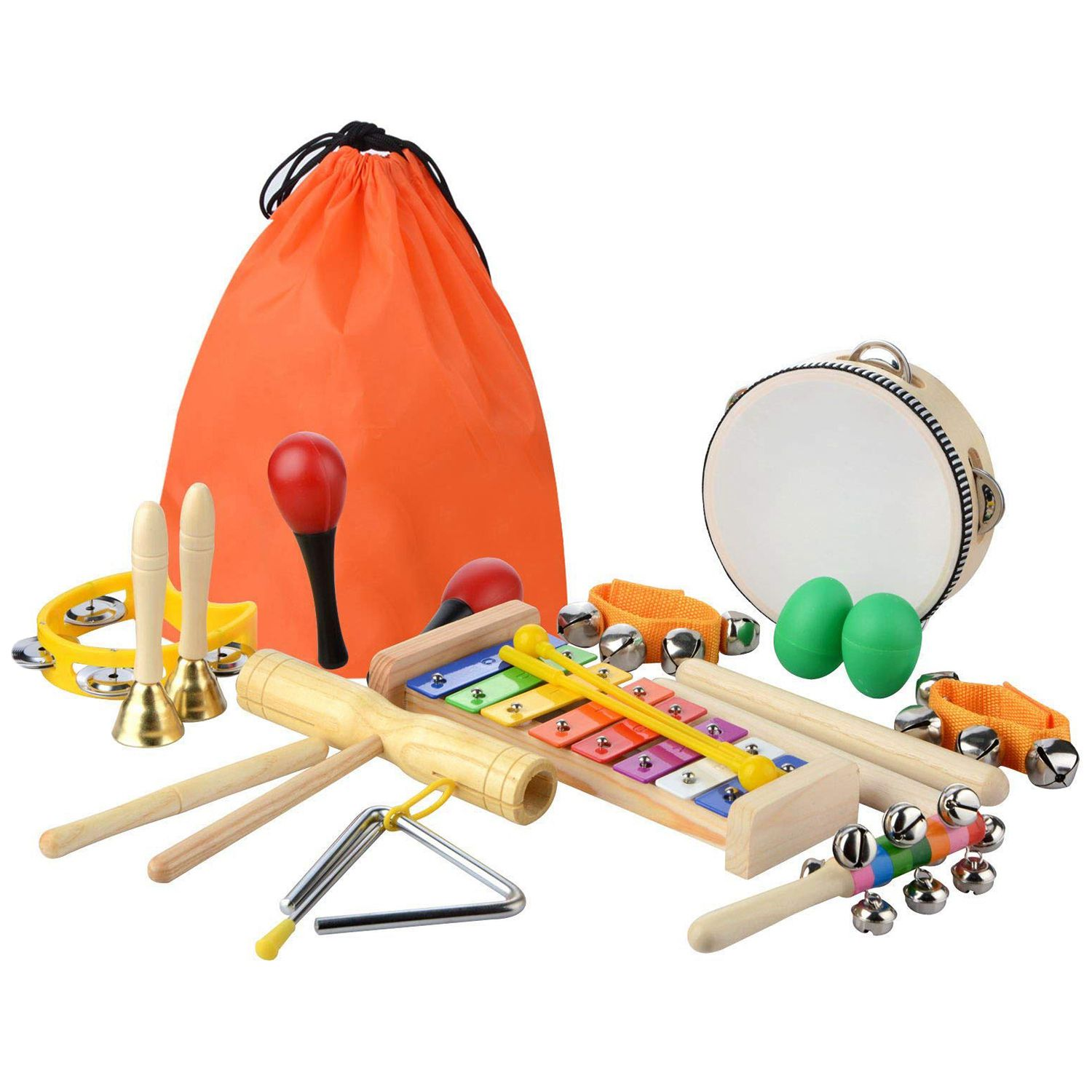 20 Pcs Toddler & Baby Musical Instruments Set - Percussion Toy Fun Toddlers Toys Wooden Xylophone Glockenspiel Toy Rhythm Band
