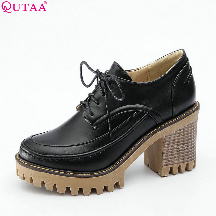 QUTAA 2018 Women Pumps Fashion Women Shoes Platform Pu Leather Square High Heel Round Toe Lace Up Women Pumps Szie 34-43 nayiduyun women genuine leather wedge high heel pumps platform creepers round toe slip on casual shoes boots wedge sneakers