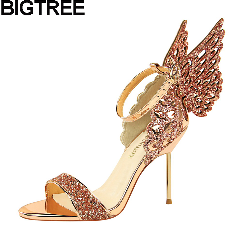 8c9893559a BIGTREE Sexy Verão Mulheres Sandálias de Salto Alto Que Bling de  Lantejoulas Glitter Cristal Da Asa Da Borboleta de Metal Sapatos de Salto  Alto Salto Fino ...