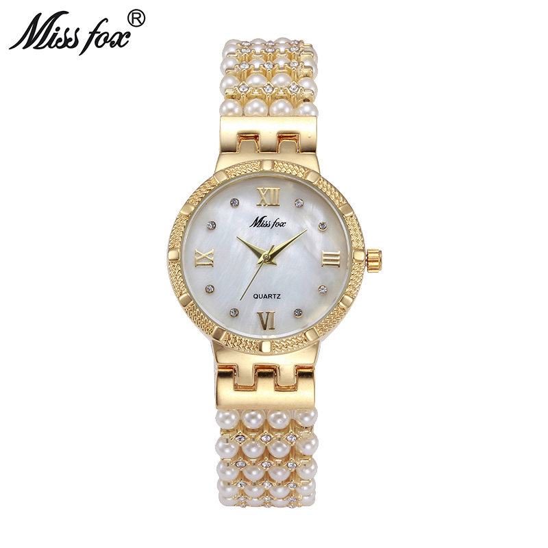 цены  Miss Fox Hot Nature Pearl Watch Women Rhinestone Dress Women Gold Watch Fashion Diamond Pearl Chain Band Women Girl Golden Clock