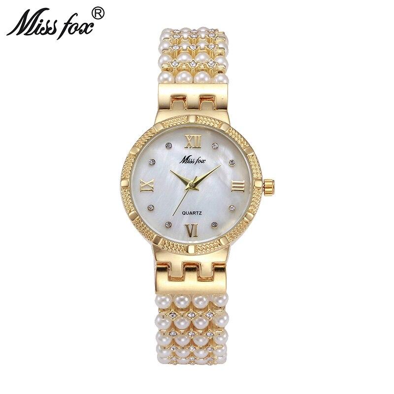 Mlle Fox Chaude Nature Perle Montre Femmes Strass Robe Femmes or Montre De Mode Diamant Perle Chaîne Bande Femmes Fille D'or horloge