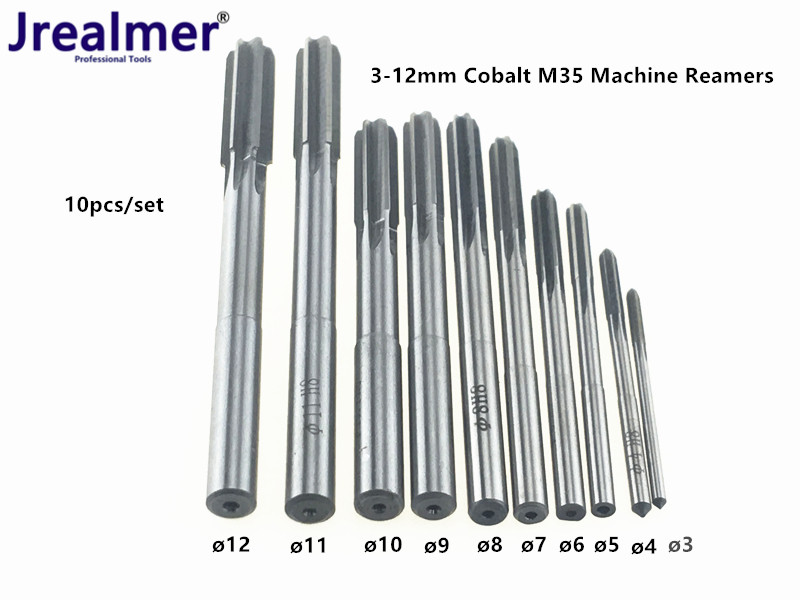 Jrealmer 10pcs Cobalt HSS H8 Straight Shank Milling Reamers Set Chucking Machine Cutter Tool 3/4/5/6/7/8/9/10/11/12 Mm