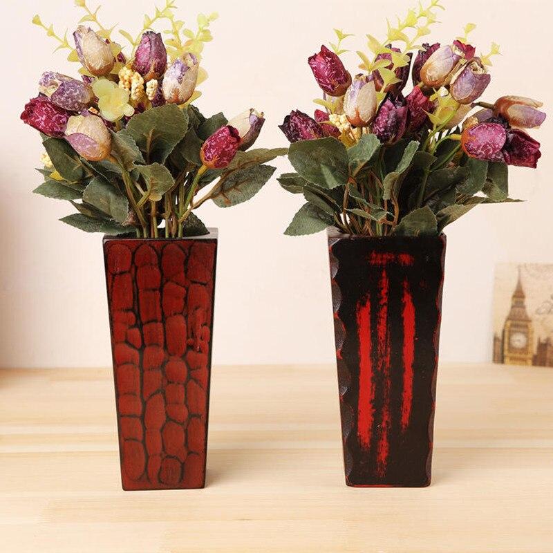Япония Стиль деревянным квадратным ваза ретро цветочные украшения дерева черепаха весь дом/офис/партия/Бар Декор на день рождения подарок