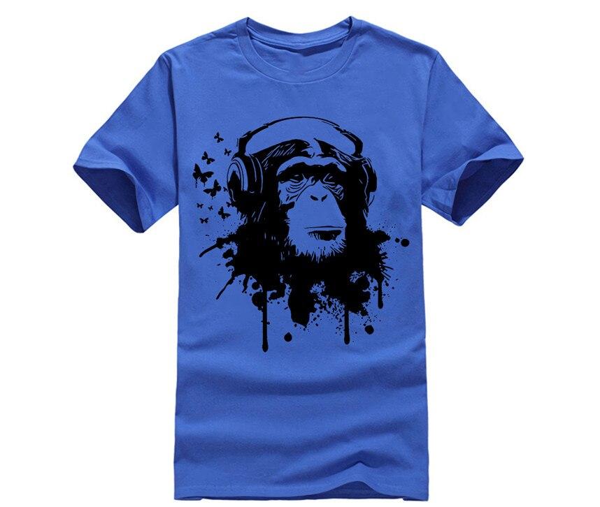 Men's Graphic T-Shirt Funny Shirt Cheap Men Birthday Gift T Shirt TURNTABLES MONKEY HEADPHONE MUSIC MASTER MC REGGAE GEEK