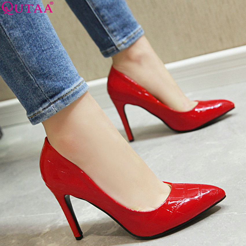 QUTAA 2019 Wedding Shoes Women Pumps Thin High Heel Pointed Toe Slip on All Match Pu Leather Ladies Wedding Pumps Size 34-43QUTAA 2019 Wedding Shoes Women Pumps Thin High Heel Pointed Toe Slip on All Match Pu Leather Ladies Wedding Pumps Size 34-43