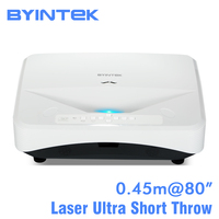 BYINTEK LW300UST Ультра короткий бросок 1280x800 DLP видео Full HD 1080 P проектор для домашнего образования Бизнес Офис задняя пленка
