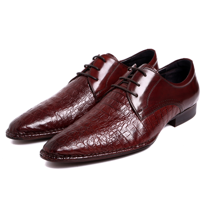 Serpentine wine red / black formal derby shoes mens business shoes genuine leather dress shoes breathable mens wedding shoes top quality crocodile grain black oxfords mens dress shoes genuine leather business shoes mens formal wedding shoes