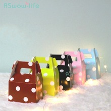 10pcs Paper Candy Box Polka Dot Gift Bag Chocolate Packaging Children Birthday Party Wedding Decor Favors