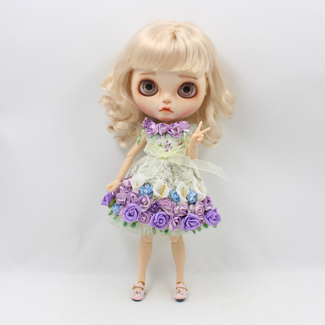 Neo Blythe Doll Colour Lace Flower Dress