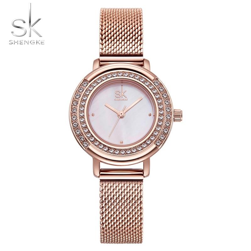 цена на SHENGKE Rose Gold Women Crystal Dial Quartz Watches Female Wrist Girl Clock Dress Watch 070204