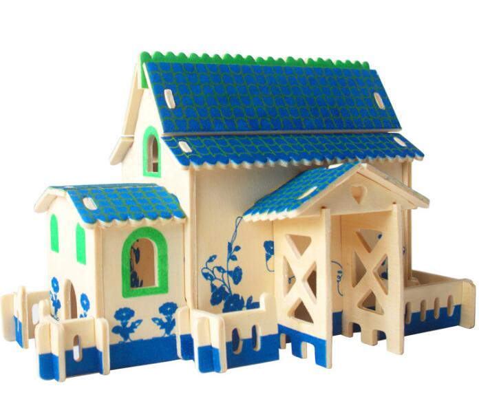 Cabin Toy Model 3d Three-dimensional Wooden Jigsaw Puzzle Toys for Children Diy Handmade Wooden Jigsaw Puzzles