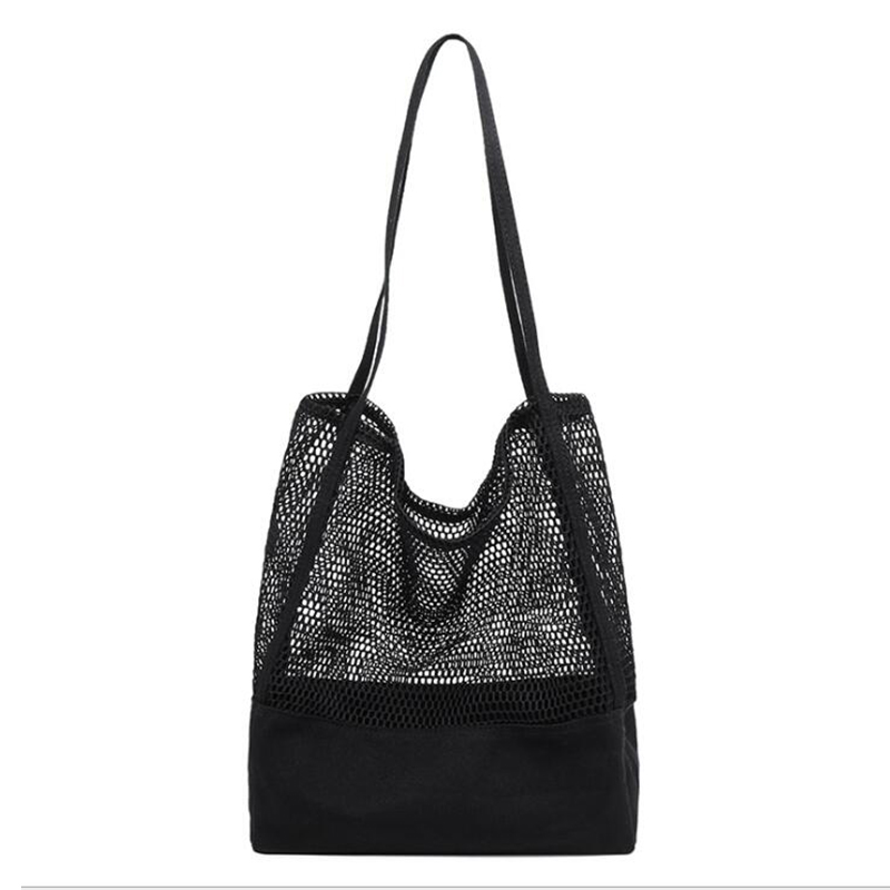 New Beach Tote Grocery Bags for women Reusable Mesh Hollow Out Shopping Bag Handbag Christmas Gift