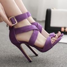 Fashion Summer Women Sandals Casual Flock Buckle Strap Thin Heels 11.5CM High Heels Open Toed Women Shoes Sexy Pumps summer women sandals shoes genuine leather flock nubuck pearl buckle strap solid fashion sweet casual princess square high heels