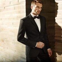 High high quality Groom fits Tuxedos black notch Lapel Men's Suit Fashion Groomsman Wedding Prom Suits(Jacket+Pants)