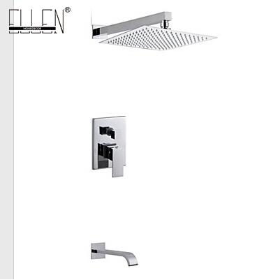 Wall Mount Chrome Shower Set With 8 Inch Stainless Steel Shower Head Bathroom Rain Brass Silver Shower Mixer El4589 To Ensure Smooth Transmission Shower Faucets Bathroom Fixtures