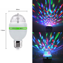 цены E27 3W RGB LED Bulb stage lighting effect led stage Colorful Auto Rotating Party Lamp Disco for home decoration lighting lamps