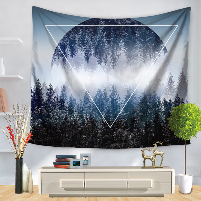 CAMMITEVER Moon Forest Mountains Woods Leaf Wall Tapestry Mandala Hippie Home Decor Hanging Boho