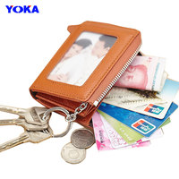 YOKA men women genuine leather coin purse ladies coin bag zipper real cow leather key holder wallets women small coin wallets