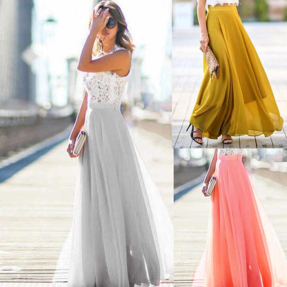 Jaycosin юбка, женское универсальное шифоновое приталенное платье, плиссированная юбка с высокой талией, Женская юбка, сексуальная тонкая повседневная юбка