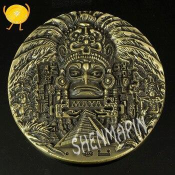 Calendario Solar Maya.Calendario De Oro Maya Azteca Moneda Conmemorativa Mexico Cultura India Maya Monedas De Calendario Solar Coleccionables Monedas De Religion 80mm