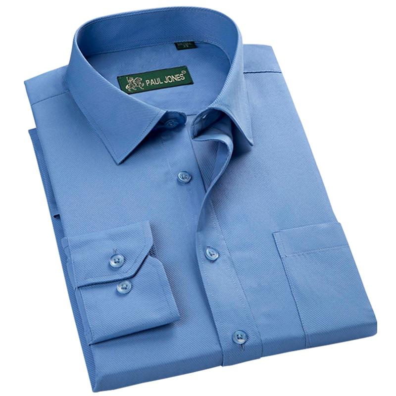 Новое поступление 2017 высококачественные классические твил бизнес мужские рубашки Длинные рукава с отложным воротником Большие размеры 5XL платье рубашка
