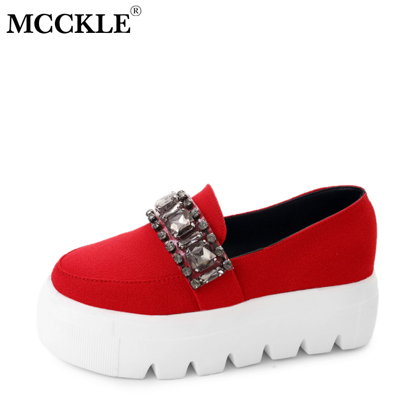 MCCKLE Women Flat Platform Shoes Female Creepers Moccasin Crystal Slip On Woman Shoes Ladies FootwearFashion Bowtie Loafers Shoe pinsen women flat platform shoes woman moccasin zapatos mujer platform sandals slip on for ladies shoes casual flats moccasins