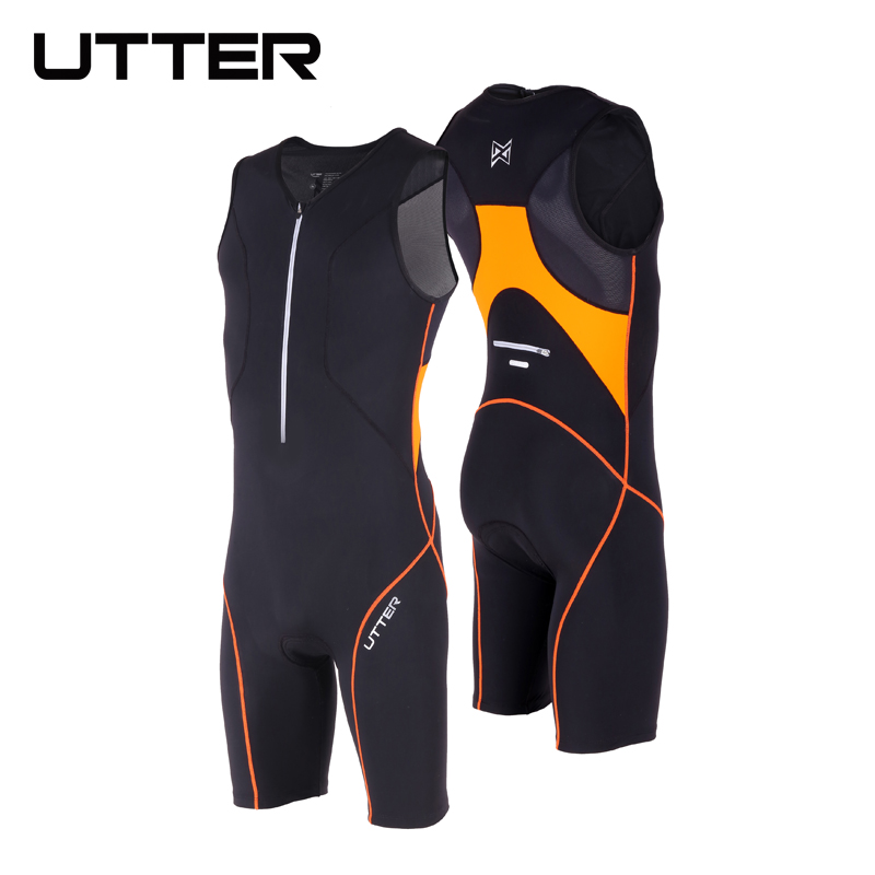 UTTER Passion P1 Black and Orange Cycling Jersey Sets Anti UV Men Breathable Triathlon Suit Sleeveless