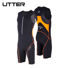 UTTER Passion P1 Black and Orange Cycling Jersey Sets Anti-UV Men Breathable Triathlon Suit Sleeveless Cycling Bicycle Clothing utter passion p2 one piece green and blue cycling jersey sets anti uv men breathable triathlon suit sleeveless cycling clothing