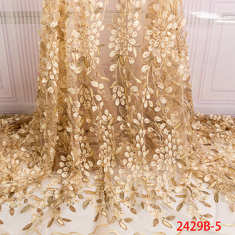 2019 New French Net Lace Fabric Latest African Tulle Lace Fabric with Beads Embroidery Lace Fabrics for Wedding Dress APW2429B