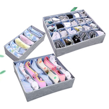 Gray Non-Woven Fabrics Three-piece storage Box Without Lid For Bra Underwear Necktie Socks