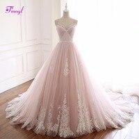 Fmogl Elegant Pleated Beaded A Line Wedding Dresses 2018 Sexy Spaghetti Straps Appliques Princess Bridal Gown Vestido de Noiva