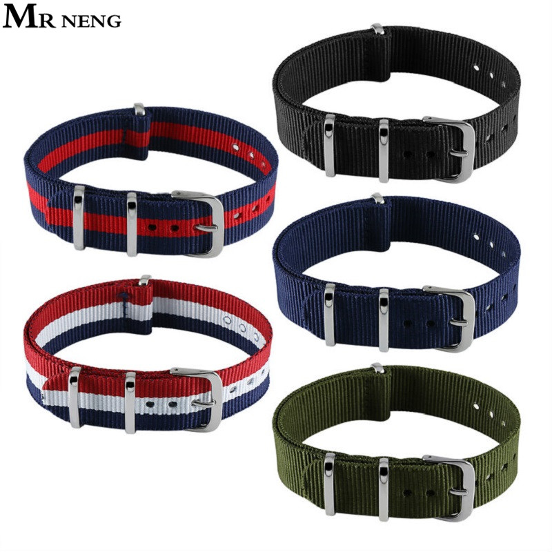 Hot Activity Top Quality 12mm 14mm 16mm 18mm 20mm 22mm Navy White Red For Diver 3 Keepers NATO Waterproof Nylon Strap Watch Band