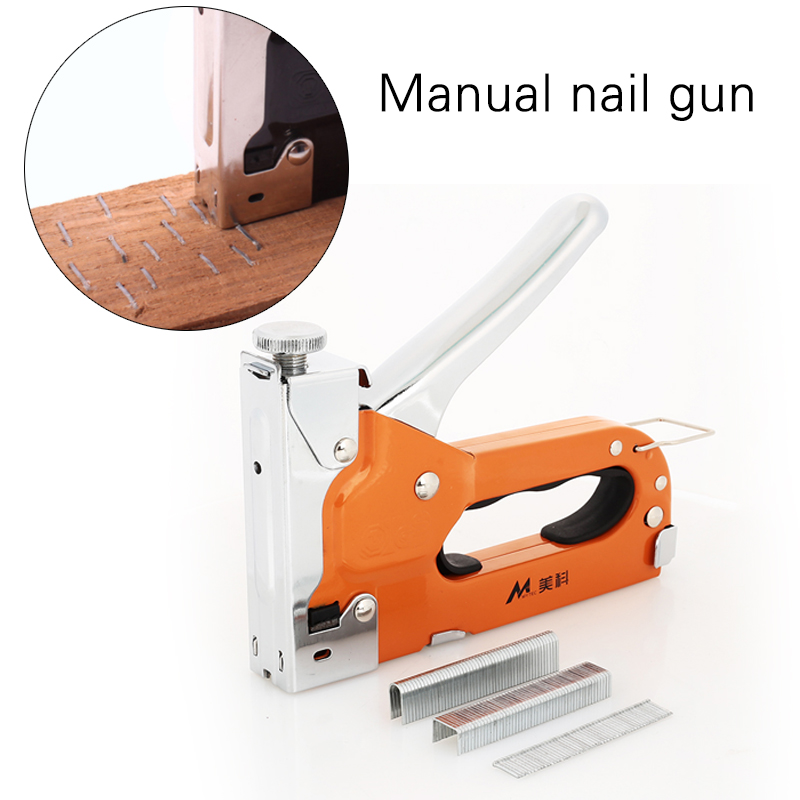 Metal Orange Carpentry Nail Staple Gun Multifunction Nailers Rivet Tool Durable Wood Dowel Door Nailer Woodworking