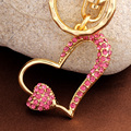Love couple keychains crystal heart pendant key rings porte clef porta chiavi bag charm car keychain llavero Valentine's gift