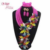 Pink Luxury African accessories beads jewelry sets india nigerian flower beads beaded wedding necklace dubai jewelry set W12893
