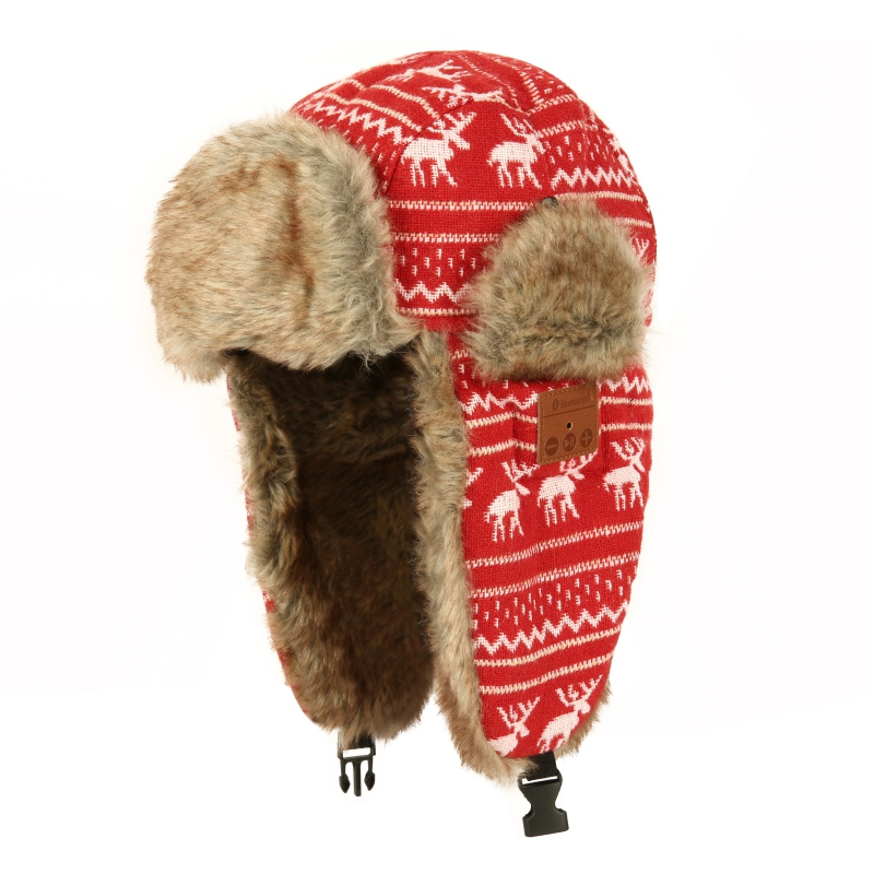 Winter Warm Bluetooth 3.0 Hat Thicken Faux Fur Beanie Christmas Deer Hat Wireless Headset Smart Cap Outdoor Soft Cap men s winter warm black full face cover three holes mask cap beanie hat 4vqb