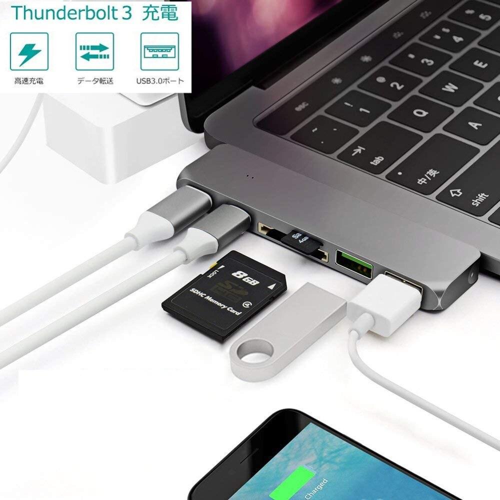 Convertisseur de USB type C vers USB 3.0 PD adaptateur de puissance lecteur de carte SD/TF HUB USB pour Apple MAC Pro Chromebook Dell XPS 12/13