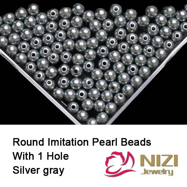 Фото Silver Gray Pearl Beads For DIY Jewelry 6mm 8mm 10mm Round Pearl Beads With Hole Fashion Resin Imitation Pearl Beads 100g/bag