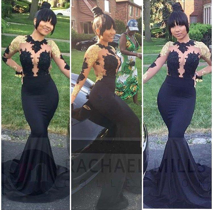Sexy African Long Sleeve Black Mermaid   Prom     Dresses   2018 Long Gold Lace Appliques Backless Sheer Top Formal Evening Party Gowns