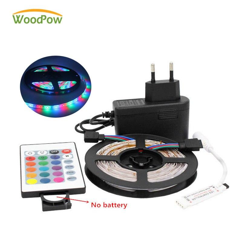 WoodPow 0.5M-5M LED Strip Super Bright 2835 RGB Green Red Blue Warm White Set Non-Waterproof Strips Light Ribbon Flexible 12V DC