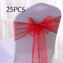 Free Shipping 25PC/Pack 20 Colors Sheer Organza Chair Bows 18x275cm Wedding Party Event Ceremony Chair Decoration Chair Sashes(China)