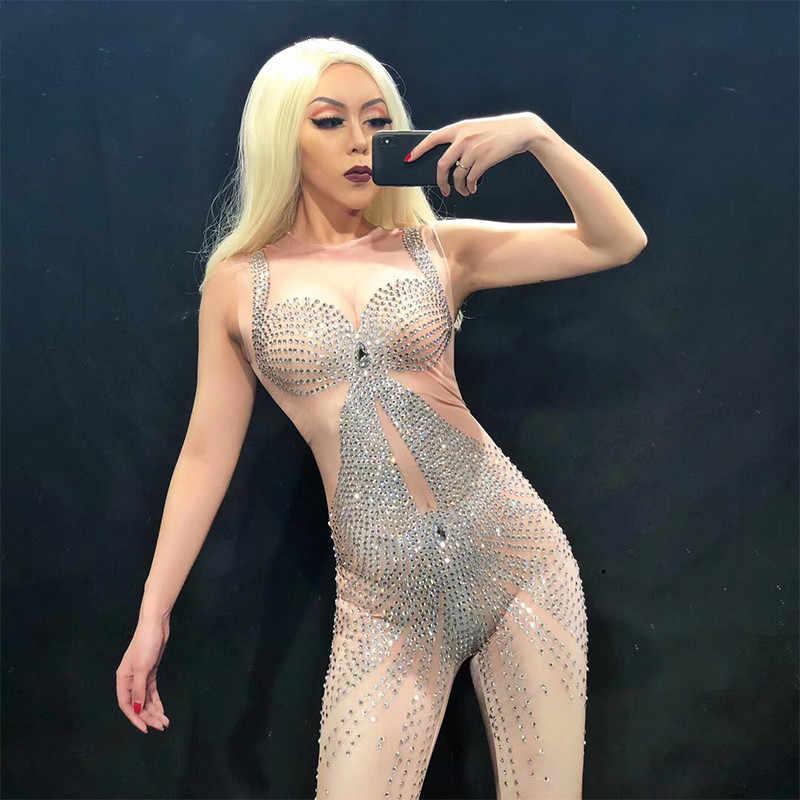 セクシーなステージ Dj キラキラ真珠ジャンプスーツ女性ラインストーンボディスーツの性能の祝う豪華なシャイニング衣装衣装