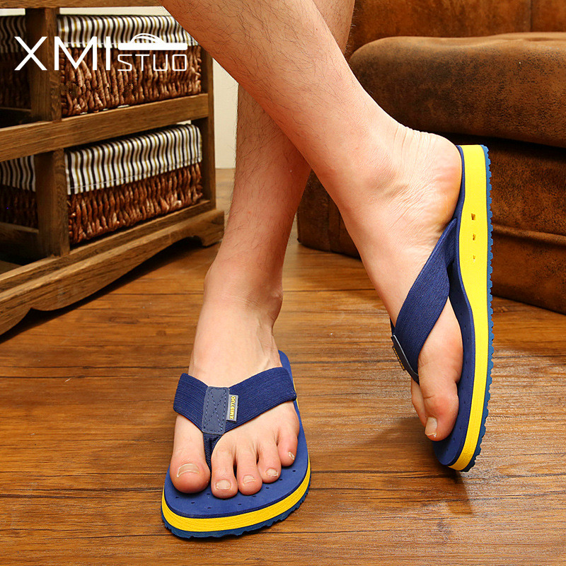 XMISTUO Summer Korean big size Tide Slippers Men Non-slip Cool Flip-Flops Breathable Thick-soled Sandals Slippers Toe Sandals