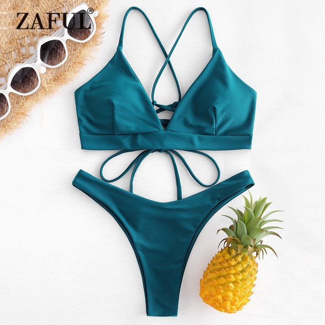 92a94000b79 ZAFUL Back Lace-up Thong Bikini Criss-Cross Swimwear Women High Cut Swimsuit  Peacock Blue Straps Low Waist Biquni Bathing Suit