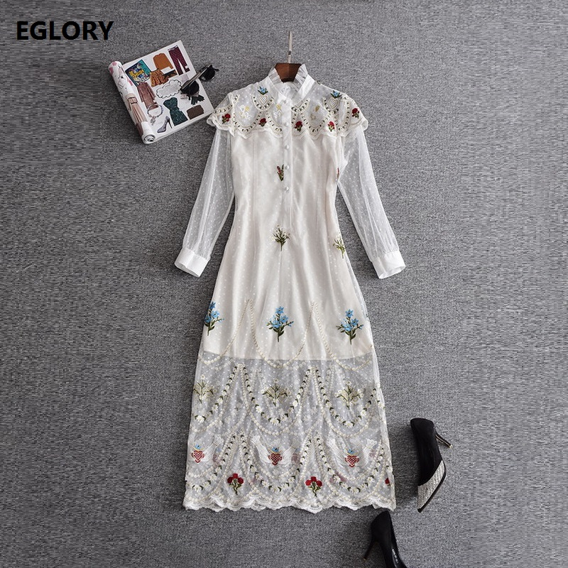 2017 Autumn Runway Designer Clothes For Women's High Quality Dot Mesh Floral Embroidered Lace Dress Hippie Party White Dress