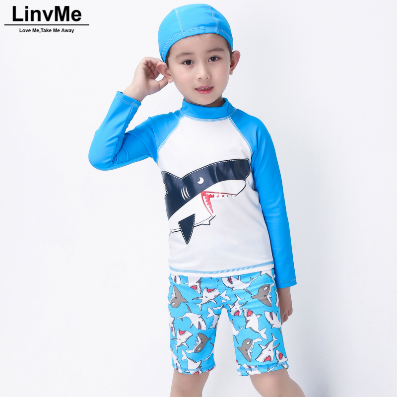 Linvme 2018 Boys Cartoon Cute Swimsuit with Trunks Swimming Bathing Suit Boy Kids Swimwear Sportswear with Cap for Children Kids ...