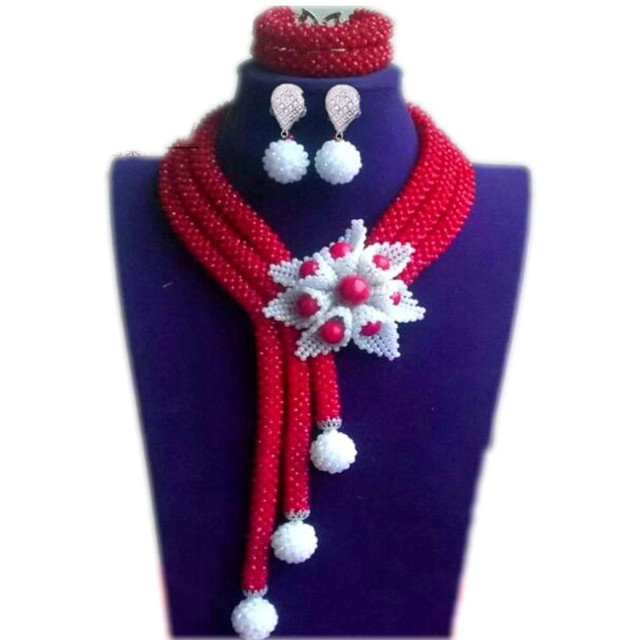Hot Red Newest Dubai Design Jewelry Sets White Flower African Nigerian Beads Necklace Sets Fashion Wedding Party Women Beads