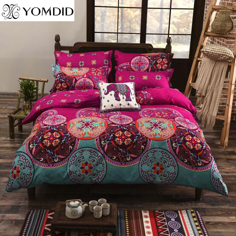 Bohemian Style Bedding set Floral Printed <font><b>Bed</b></font> linens Twin Queen King Size 4pcs Duvet Cover Flat Sheet Pillow case Hot sale